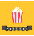 Popcorn Big film strip ribbon line with text Red vector image vector image