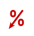 profit decrease fall arrow and percent icon gdp vector image