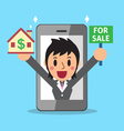 Real estate broker agent and smartphone vector image vector image