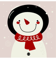 Retro Snowman with red Scarf on snowing background vector image vector image