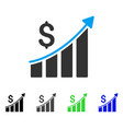 sales growth bar chart flat icon vector image vector image