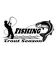 salmon fish and fisherman - fishing logo template vector image vector image