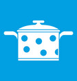 saucepan with white dots icon white vector image vector image