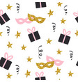 seamless pattern with gifts stars and masks vector image vector image