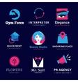 set bright modern logos vector image vector image