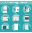 Set flat design icons of kitchen appliances with vector image