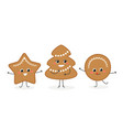set of funny gingerbread christmas cookies vector image
