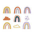 set with childish hand drawn rainbows clouds and vector image vector image