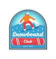 snowboard club concept for patch shirt vector image