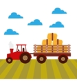 tractor farm vehicle icon vector image vector image