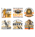 travel to egypt icons egyptian gods and sights vector image vector image