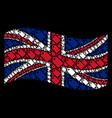 waving united kingdom flag mosaic of tag items vector image vector image