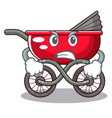 angry baby sitting in a baby stroller cartoon vector image vector image