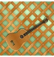 background pattern with crossed planks ang guitar vector image