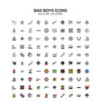 bad boys pirates cowboys outline colored icons vector image vector image
