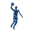 basketball player action cartoon sport graphic vector image