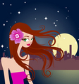 beautiful girl with night city vector image