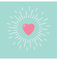 Big pink shining heart Flat design vector image vector image