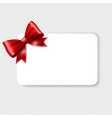 blank gift tag red ribbon bow vector image