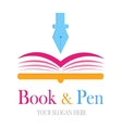 book and pen logotype vector image