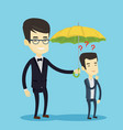 businessman holding umbrella over man vector image vector image