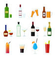 cartoon alcoholic beverages drink color icons set vector image vector image