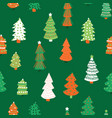 christmas trees pattern seamless vector image vector image