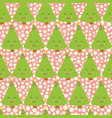 christmas trees with face kids fun pattern vector image