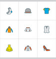 clothes icons colored line set with cardigan half vector image