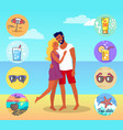 couple on beach with summer attributes around vector image vector image