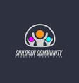 creative children community logo design for brand vector image vector image