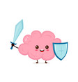 cute strong happy smiling healthy brain vector image vector image