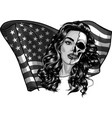 design beautiful woman with american flag vector image vector image