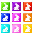 easter bunny icons 9 set vector image vector image
