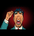 eye on his forehead the frightened man vector image vector image