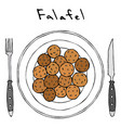 falafel on a plate top view with fork and knife vector image