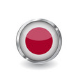 flag of japan button with metal frame and shadow vector image vector image