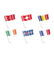 flag of turkey ireland france iceland romania vector image