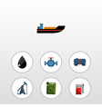 flat icon oil set of droplet flange container vector image
