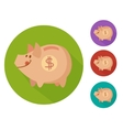 flat piggy bank vector image vector image