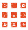 funeral rite icons set grunge style vector image vector image