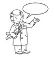 funny engineer or inventor with balloon for text vector image vector image