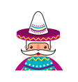 funny mexican man with hat and mustache cartoon vector image vector image