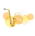 golden saxophone with music notes vector image vector image
