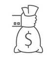 hand holding money bag thin line icon finance a vector image