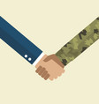 handshake businessman and soldier vector image vector image