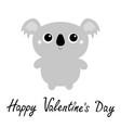 happy valentines day koala bear toy icon cute vector image vector image