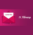 happy valentines day pink envelope on pink vector image