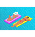inflatable ring and mattress young women on air vector image vector image