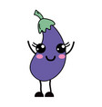 kawaii cute happy eggplant vegetable vector image vector image